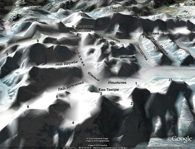 Схема района восхождений на пики Хан-Тенгри и Победа