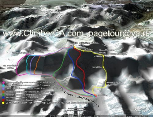 Схема маршрутов на пик Победа (7439 м.)